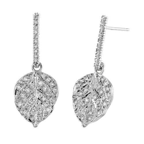 Diamond Aspen Leaf  Earrings