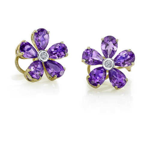 Gold Purple Stud Earrings