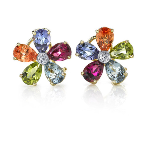 Multicolor Flower Stud Earrings