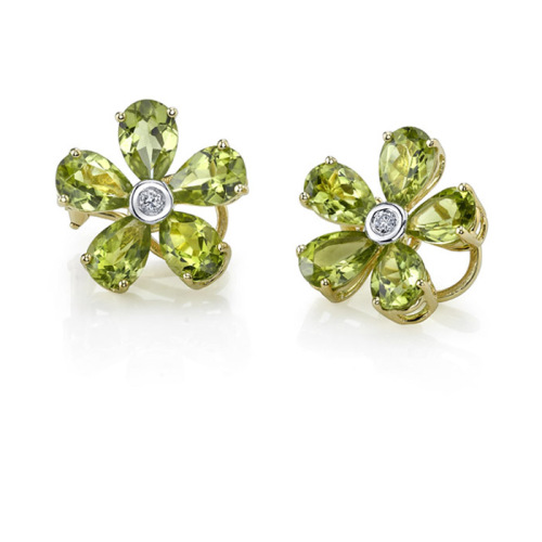 Peridot Flower Stud Earrings