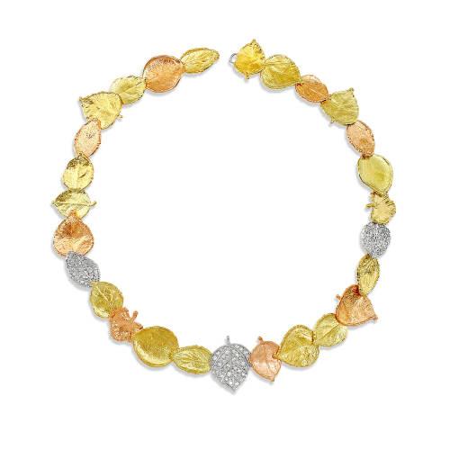 3-Diamond Leaf Necklace