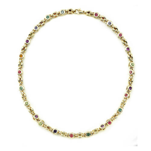Multicolor Gem Chain Necklace