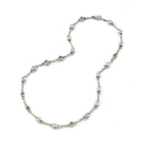 White Gold Chain Necklace with Diamonds