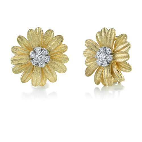 Gold Small Daisy Earrings