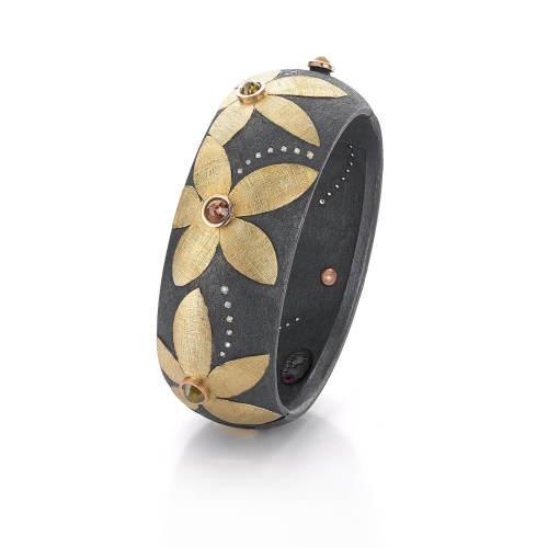 Yellow Gold & Oxidized Silver Bracelet