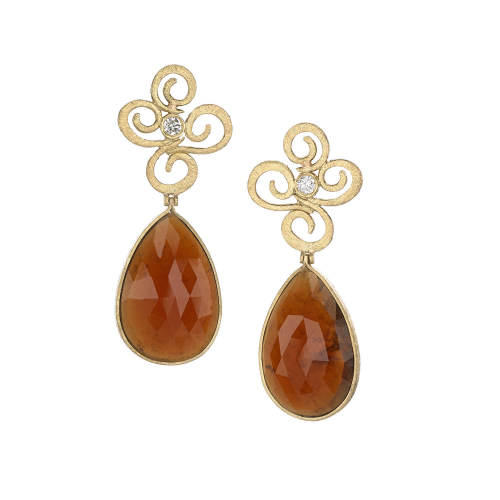 Hessonite Garnets Gold Earrings