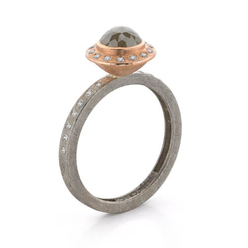 White & Rose Gold Ring with Diamonds