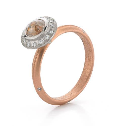 White & Rose Gold Halo Ring
