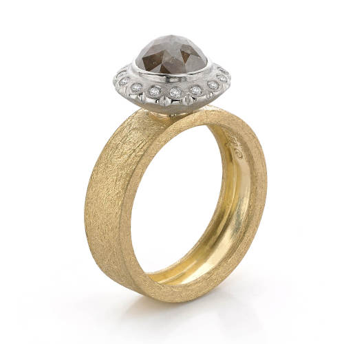 Yellow & White Gold Halo Ring