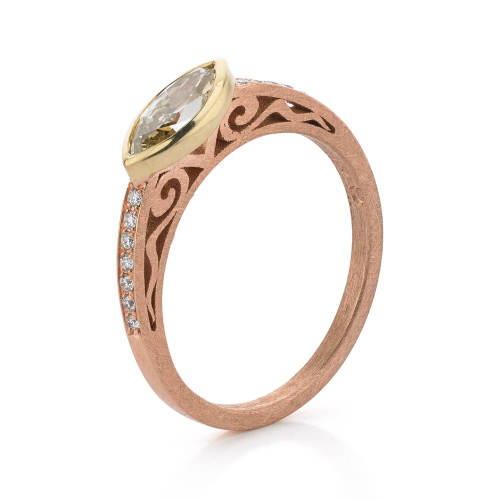 Rose Gold Ring with Marquise Shape Diamond