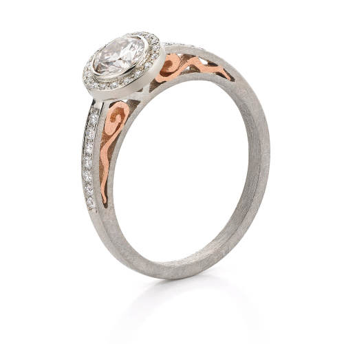 White & Rose Gold Halo Ring