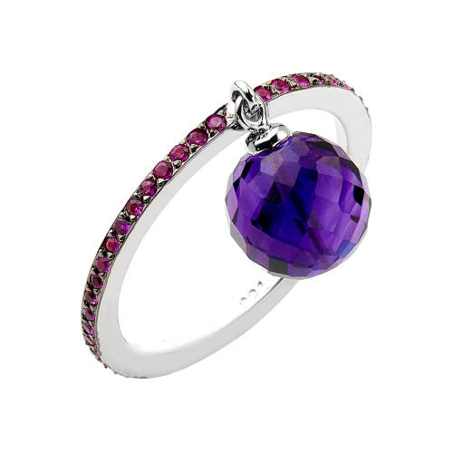 I Live Ring with Amethyst & Pink Sapphire