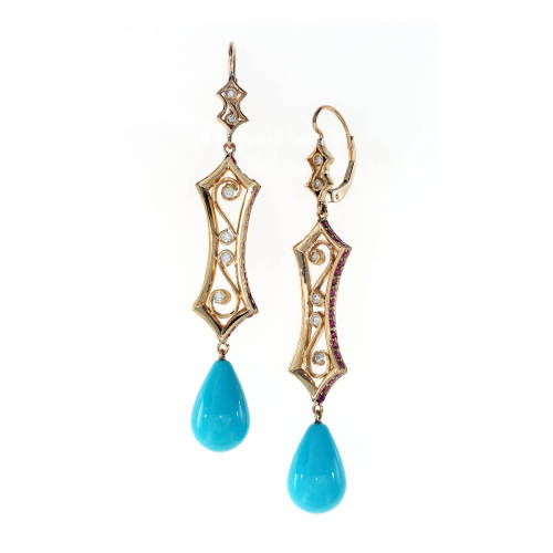 Hourglass Drop Earrings with Amethyst & Gem Turquoise Drops