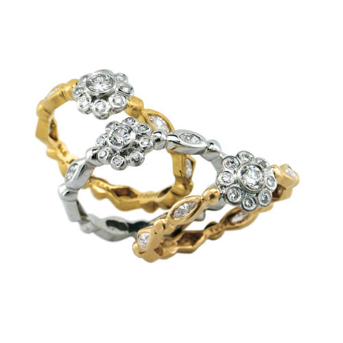 Tiny Gallant Bands with Diamond Florette