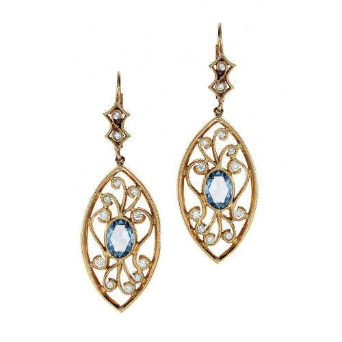 Diamonds & Rose Cut Sapphires Scroll Earrings