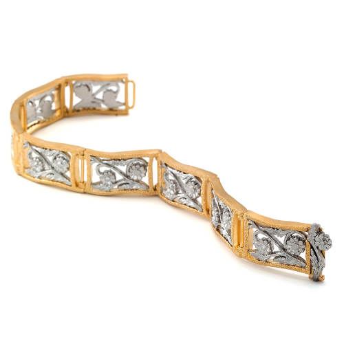 Gold & Platinum Bouquet Flower Bracelet