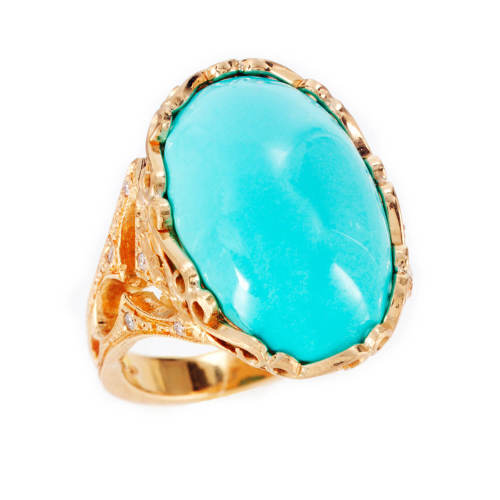 Gothic Scroll Turquoise Ring