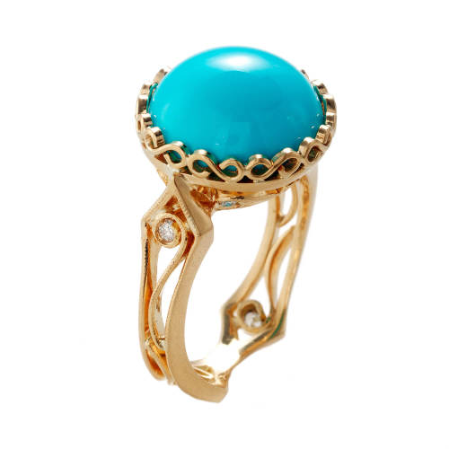 Narrow Hourglass Ring with Turquoise & Diamonds