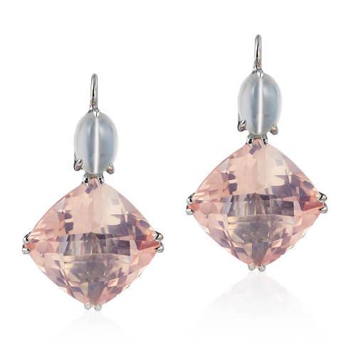 Rose Quartz & Moonstone 'Double Drop' Earrings