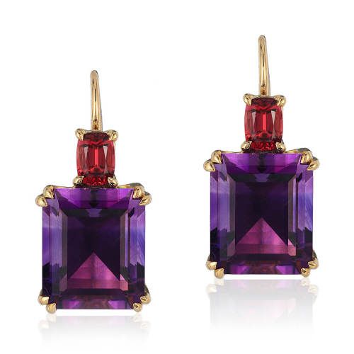 Amethyst & Red Spinel 'Double Drop' Earrings