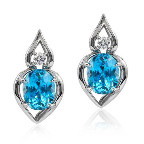 Blue Zircon & Diamond 'Pantea' Earrings