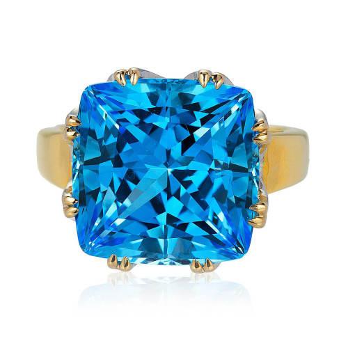Blue Topaz and Rose Gold 'Trellis' Ring