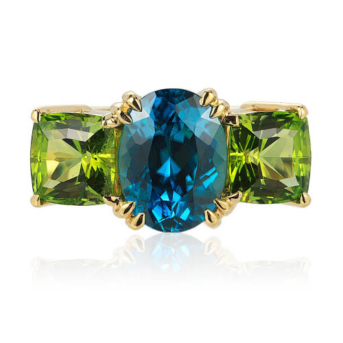Blue Zircon and Peridot 'Heaven & Earth' Ring