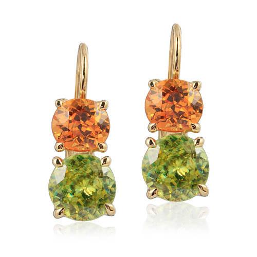 Sphene & Spessartite Garnet 'Double Drop' Earrings