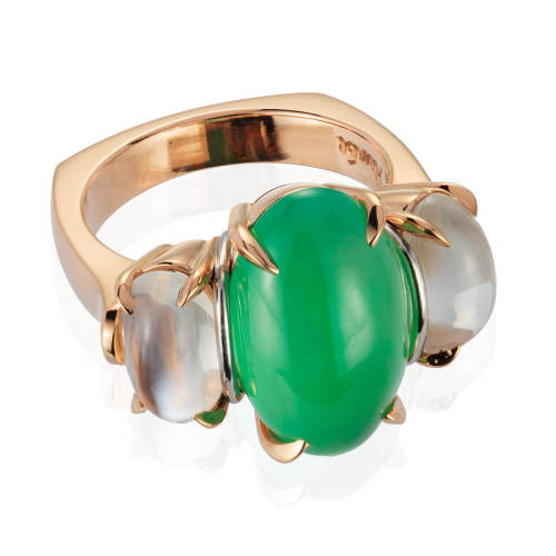 Green Jade & Moonstone Ring