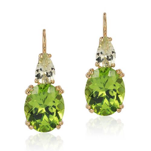 Peridot & Chrysoberyl 'Double Drop' Earrings