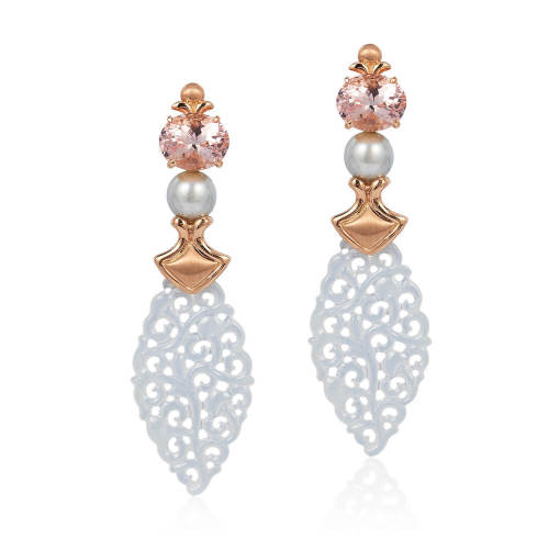 Morganite, White Jade & Pearl 'Temple' Earrings