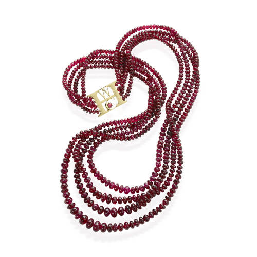 Custom Red Spinel Bead Necklace