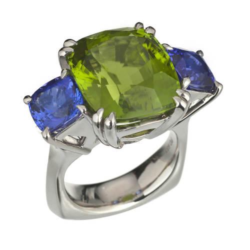 Heaven & Earth Ring with Peridot & Tanzanite