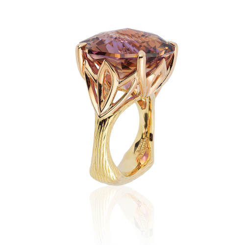 Lotus Ring with Origami Cut Ametrine
