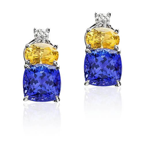 Tanzanite, Yellow Sapphire & Diamond Earrings