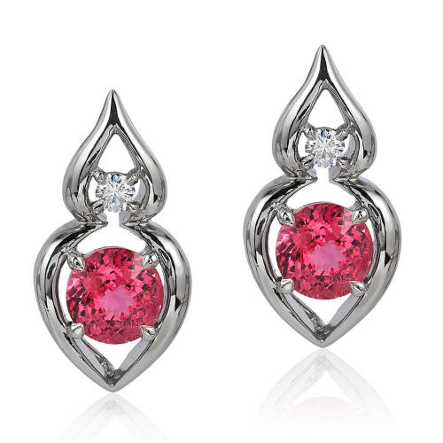 Red Spinel & Diamond 'Pantea' Earrings