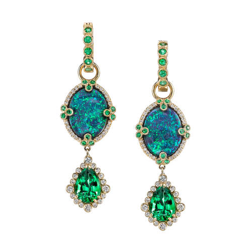 Opal & Tsavorite Charm Earrings