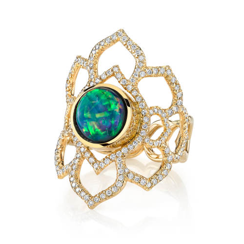 Black Opal Orchid Ring