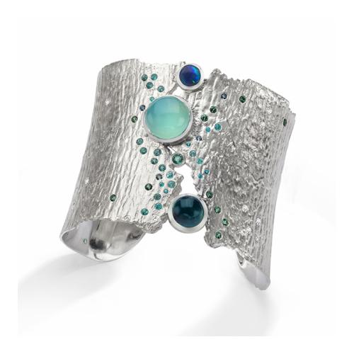 ljd-designs-19-bracelet-sterling-silver-925-blue-tourmaline-opal-emerald-silica-parabia-tourmaline-aquamarine-green-sapphire-diamond