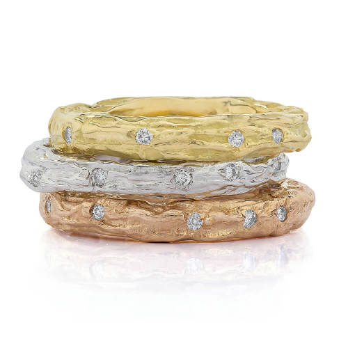 Banyan Tree Stackable Rings with Diamonds