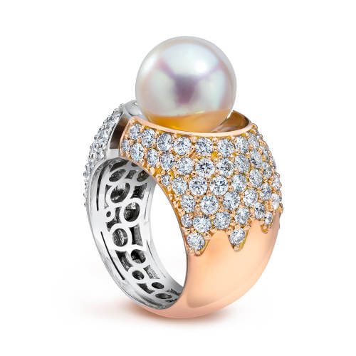 Divided Ring with Pearl and White Diamonds