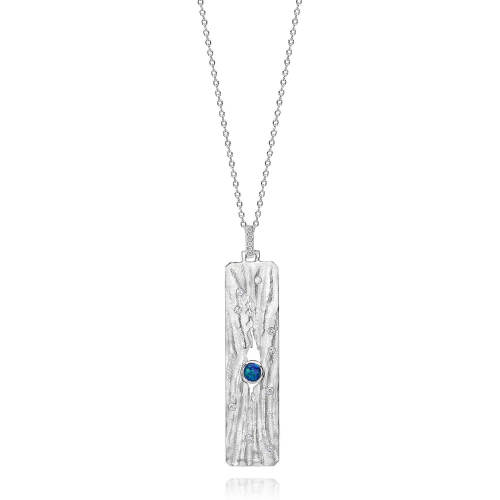 Rippled Sand Silver Pendant with Opal & White Diamonds