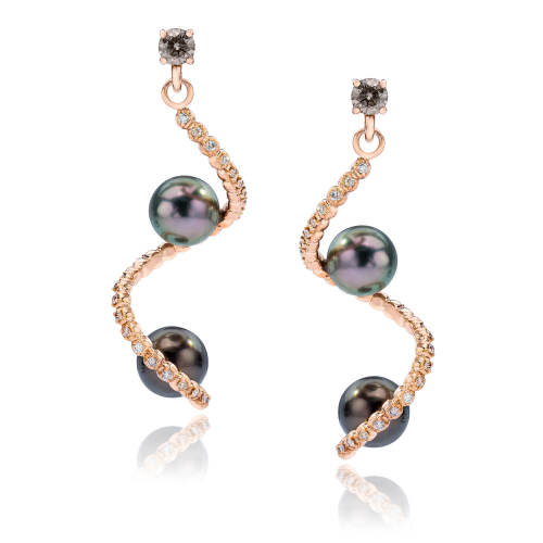 Spiral Earrings with 2 Pearls