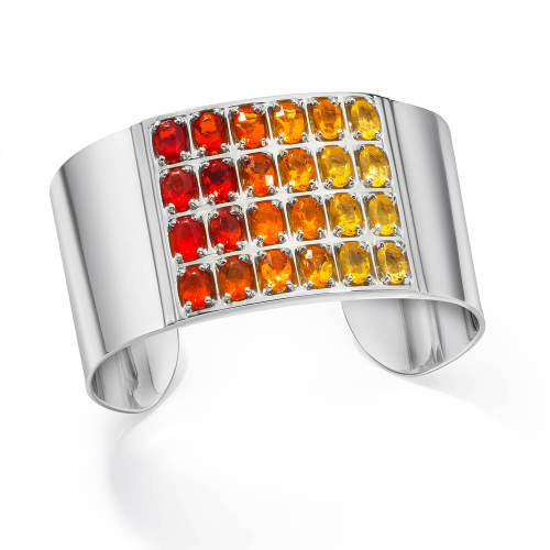 Geometric Cuff with Fire Opals
