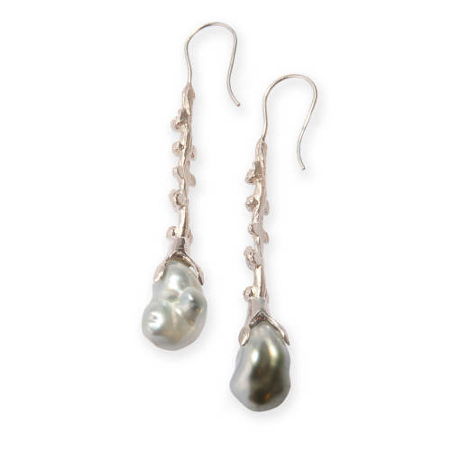 Silver Palm Berries Earrings with Pearls