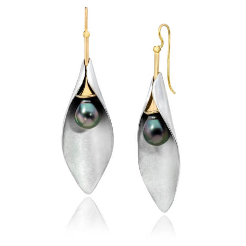 Silver Leaf Convertible Earrings with Pearls