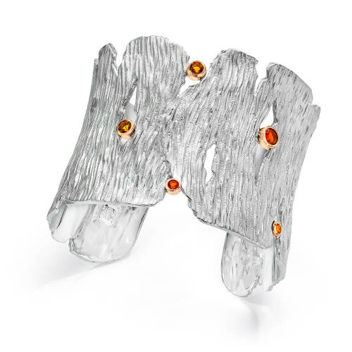 Silver Seagrass Cuff with Fire Opals