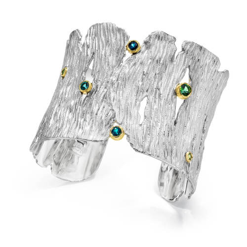 Silver Seagrass Cuff with Tourmalines