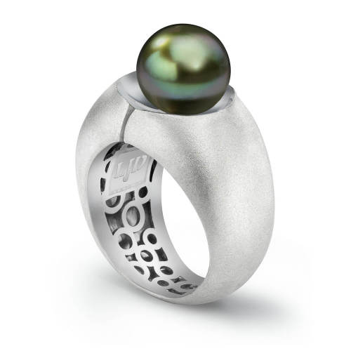 Silver Divided Ring with Tahitian Pearl
