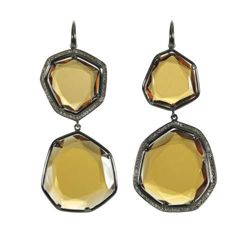 Honey Citrine Quartz & Cognac Diamond Earrings